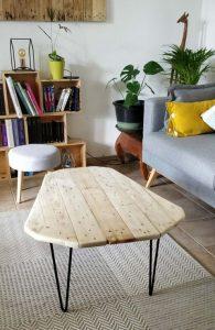 Table basse salon metal bois