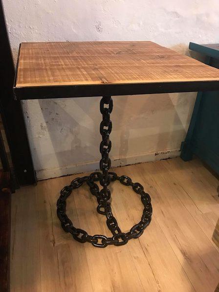 table bistrot melange bois métal