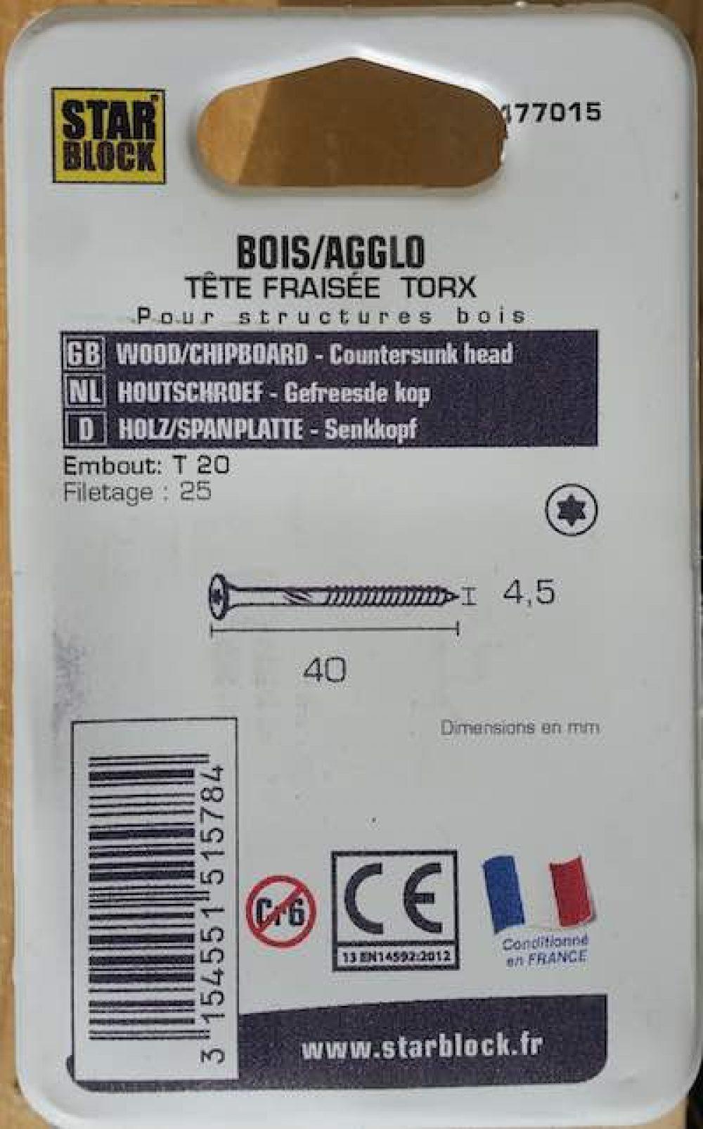 Boite 50 vis starblock 4,5x40 mm acier zingue fraisee torx verso