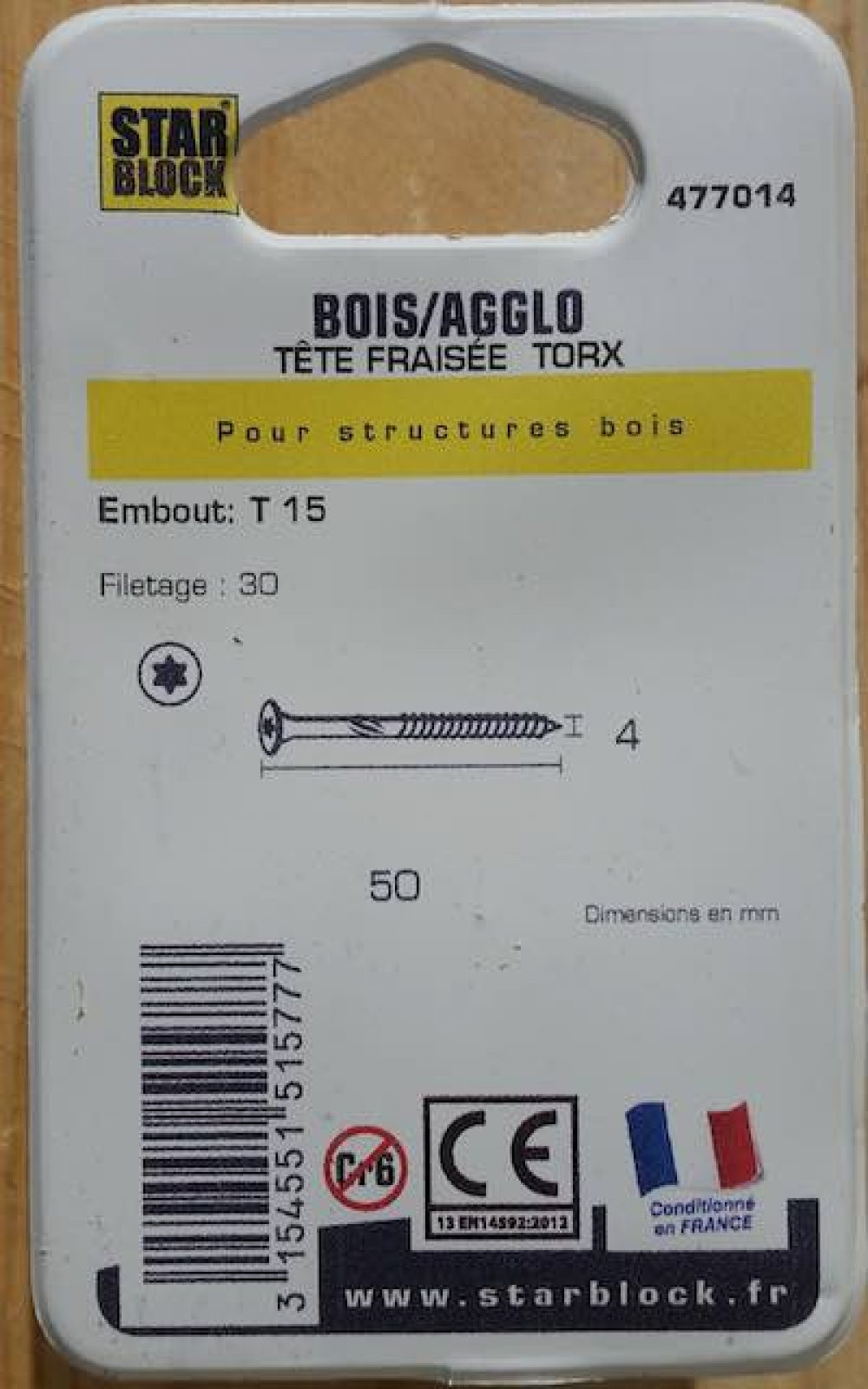 Boite 50 vis starblock 4x50 mm acier zingue fraisee torx verso