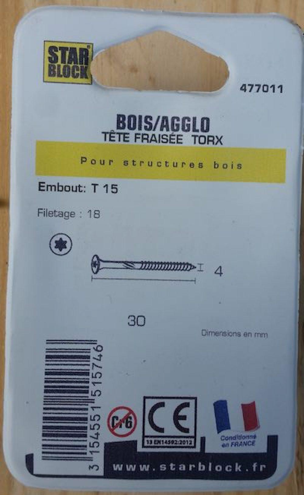 Boite 100 vis starblock 4x30 mm acier zingue fraisee torx verso